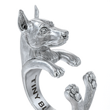 Miniature Pinscher Jewelry Cuddle Wrap Ring - TINY BLING