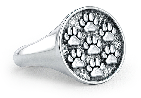 Mini Paw Prints Signet Ring