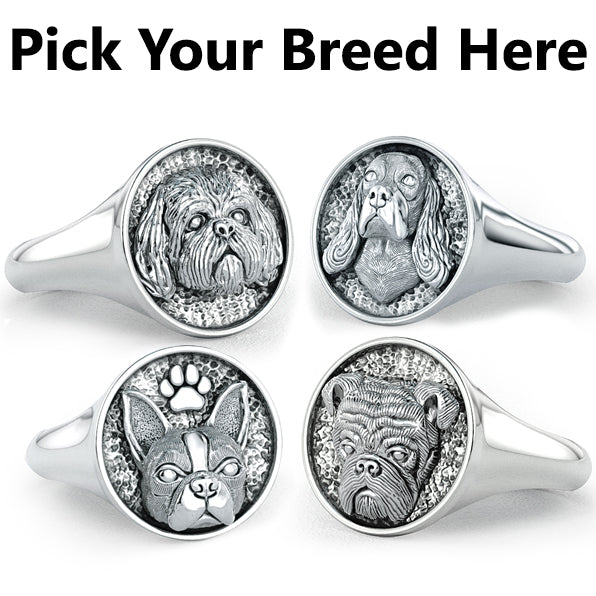 All Dog Breeds- Classic Round Signet Ring