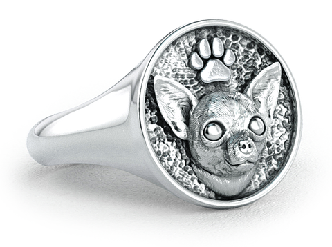 Chihuahua Classic Round Signet Ring
