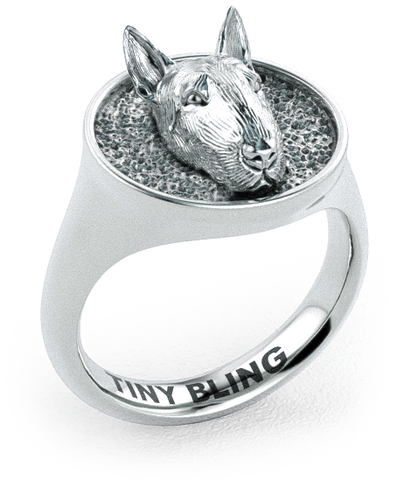 Bull Terrier Classic Round Signet Ring