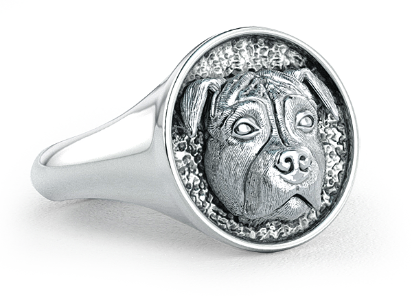 Pit Bull Classic Round Signet Ring Title