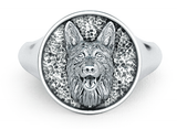 German Shepherd Classic Round Signet Ring