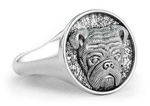 English Bulldog Classic Round Signet Ring