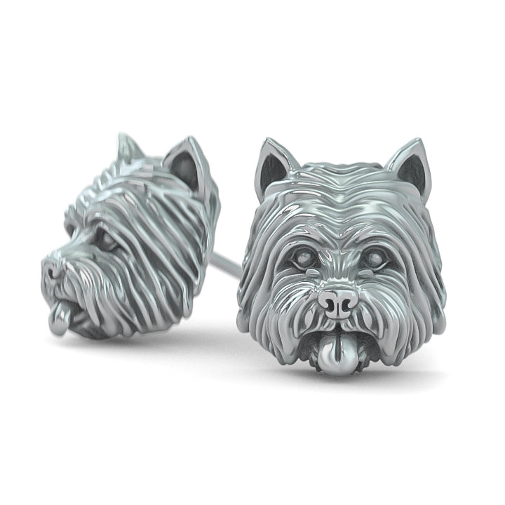 West Highland Terrier Face Earring Studs