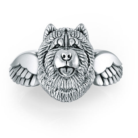 Chow Chow Angel Wings Memorial Ring