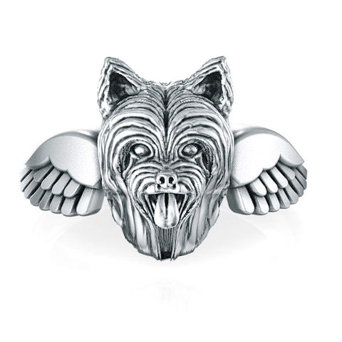 Yorkshire Terrier Long Hair Angel Wings Memorial Ring