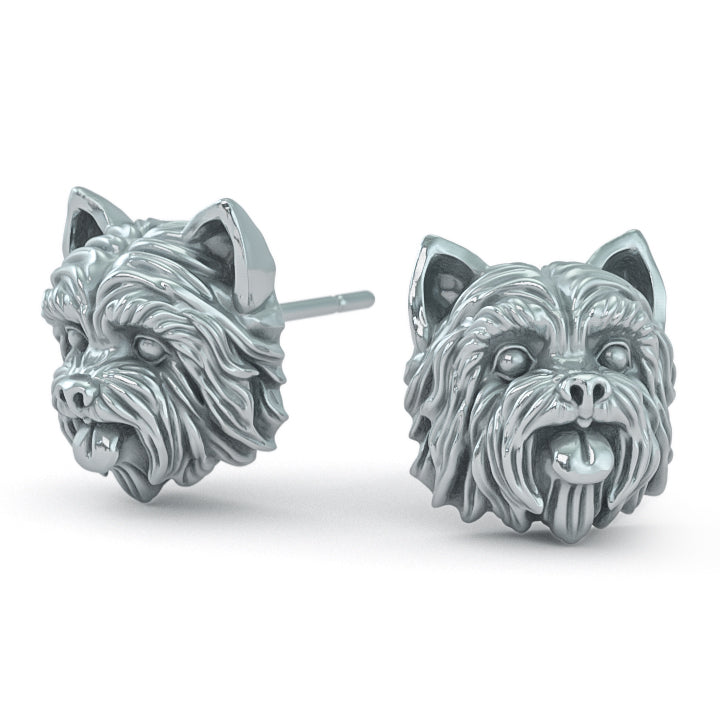 Yorkshire Terrier Puppy Face Earring Studs