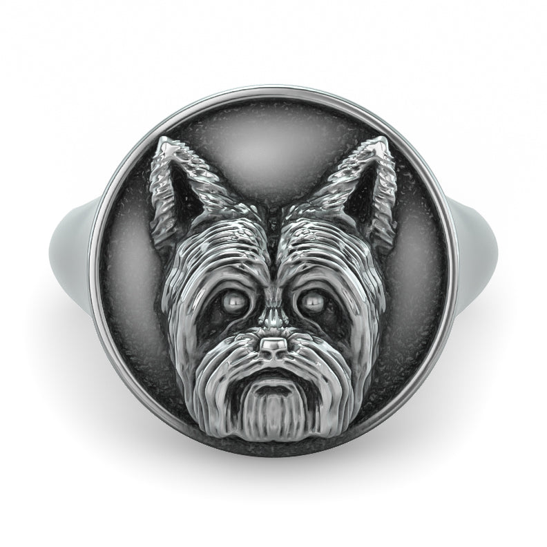 Yorkshire Terrier Short Hair Classic Round Signet Ring