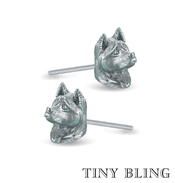 Akita Face Earring Studs - TINY BLING
