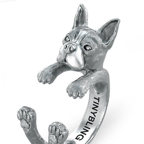 Boston Terrier Breed Jewelry Cuddle Wrap Ring - TINY BLING