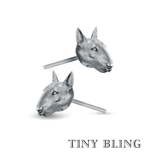 Bull Terrier Face Earring Studs - TINY BLING