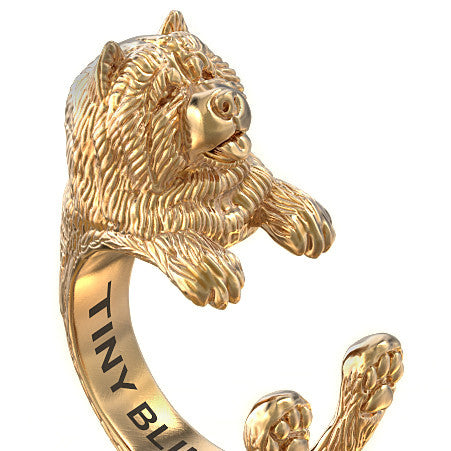 Chow Chow Breed Jewelry Cuddle Wrap Ring - TINY BLING