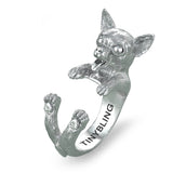 Chihuahua Cute Breed Jewelry Cuddle Wrap Ring - TINY BLING