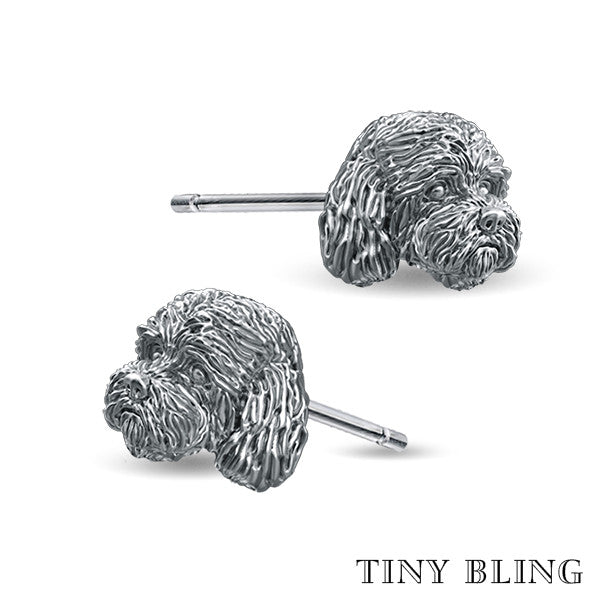 Cockapoo Face Earring Studs - TINY BLING