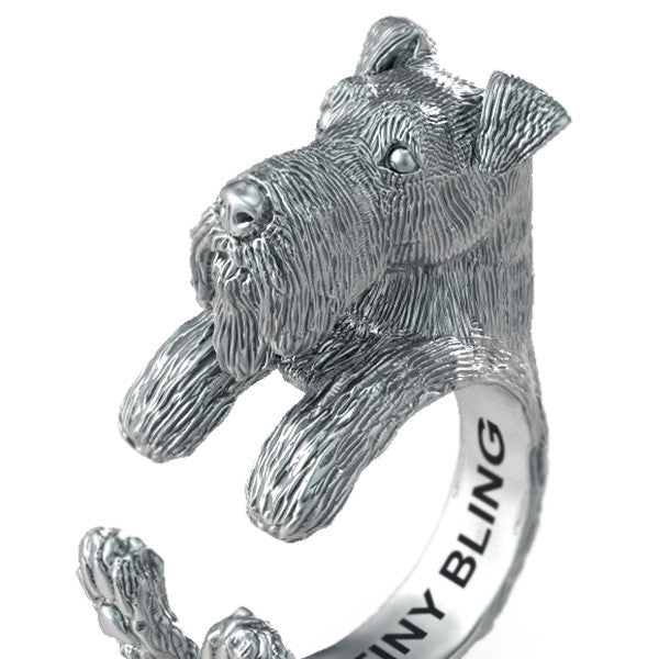 Airedale Terrier Breed Jewelry Cuddle Wrap Ring - TINY BLING