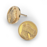 Airedale Terrier Disk Earring Studs - TINY BLING
