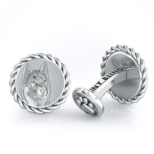 Siberian Husky Embossed Dapper Cufflinks