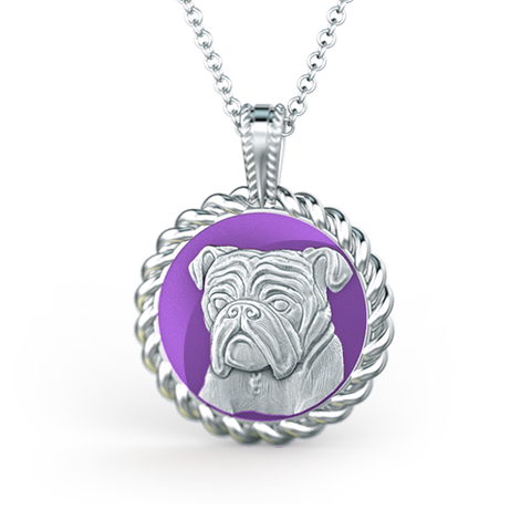 English Bulldog Posh Puppy Enamel Necklace