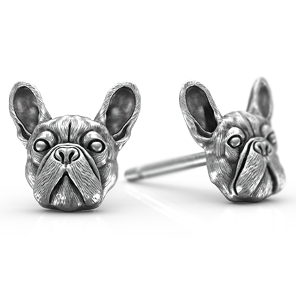 French Bulldog Breed Jewelry Puppy Face Earring Studs - TINY BLING