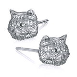 Fluffy Persian Kitty Face Earring Studs