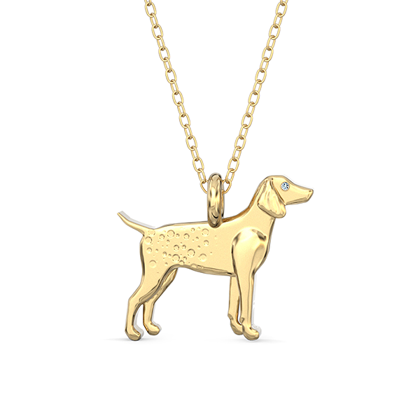 German Pointer Mini Pups  Diamond Necklace 14k Yellow Gold