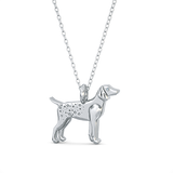 German Pointer Mini Pups  Diamond Necklace-Sterling Silver