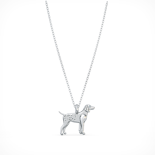 German Pointer Mini Pups  Diamond Necklace 14k White Gold