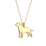 Labrador Retriever Mini Pups Diamond Necklace-14k gold