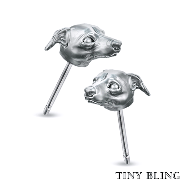 Whippet Face Earring Studs - TINY BLING