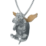 Happy Angel Hippo Diamond Necklace-gold wings