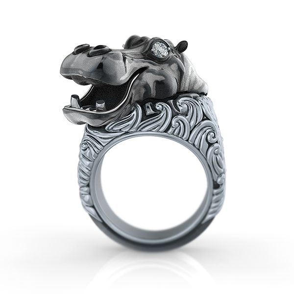 Happy Nile Hippo Ring-Sterling Silver-1