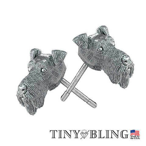Airedale Terrier Puppy Face Earring Studs
