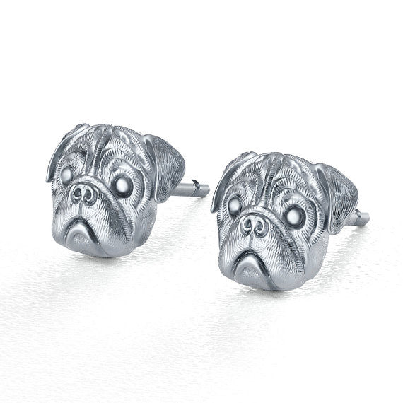 Pug Breed Jewelry Puppy Face Earring Studs - TINY BLING