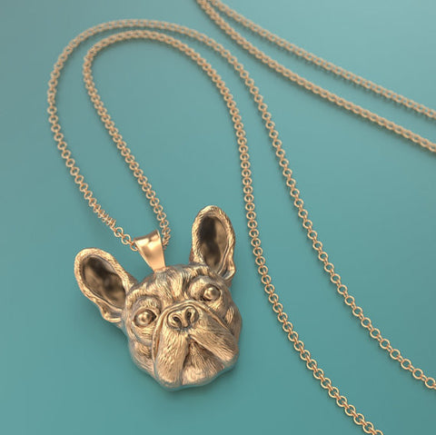 French Bulldog Breed Jewelry Face Pendant - TINY BLING