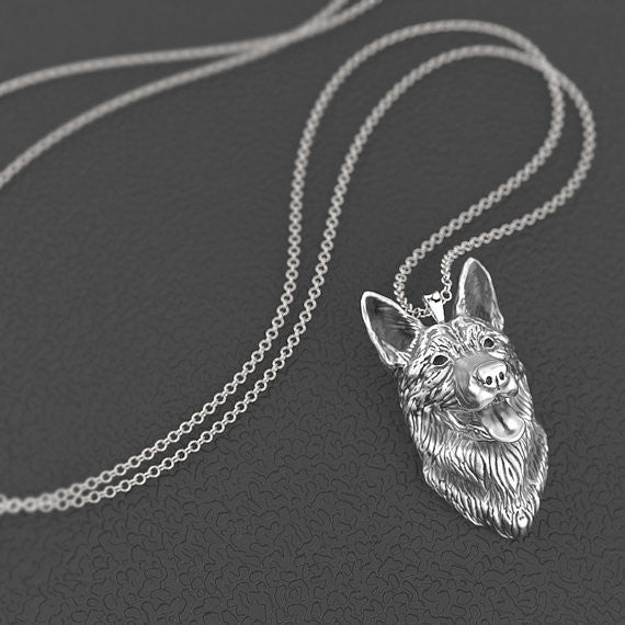 German Shepherd Breed Jewelry Face Pendant - TINY BLING