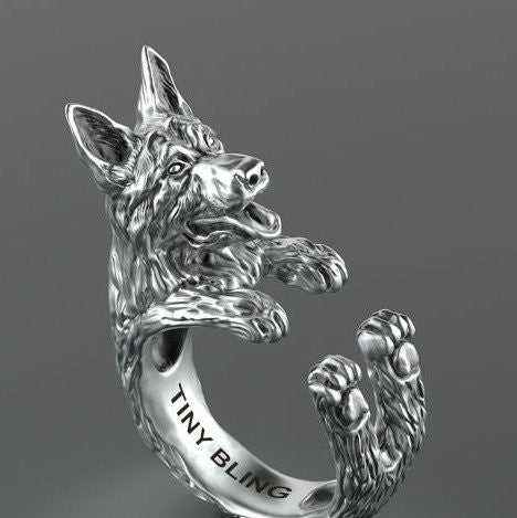 German Shepherd Breed Jewelry Cuddle Wrap Ring - TINY BLING