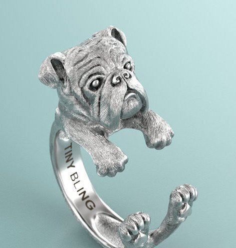 English Bulldog Breed Jewelry Cuddle Wrap Ring