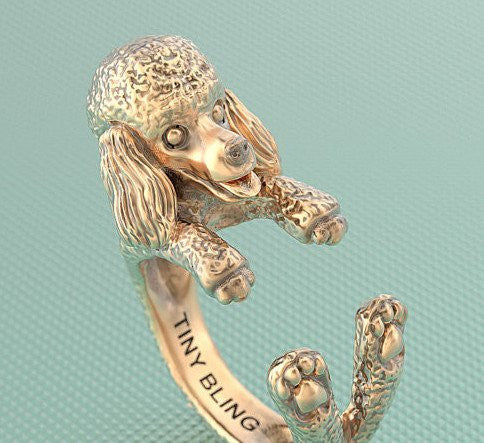 Poodle Breed Jewelry Cuddle Wrap Ring - TINY BLING