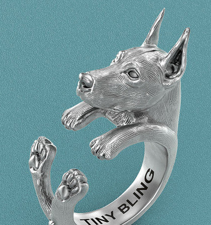 Doberman Pinscher Breed Jewelry Cuddle Wrap Ring - TINY BLING