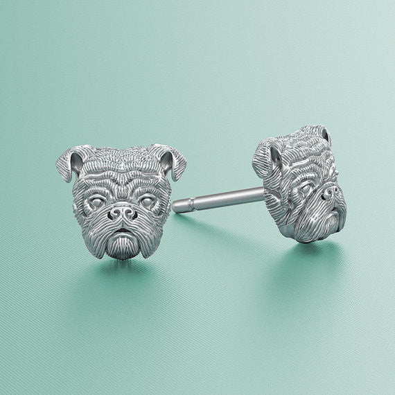 English Bulldog Jewelry Puppy Face Earring Studs - TINY BLING