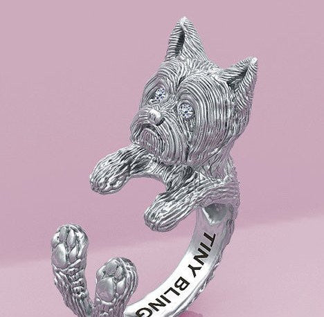 Yorkshire Terrier Breed Diamond Jewelry Cuddle Wrap Ring