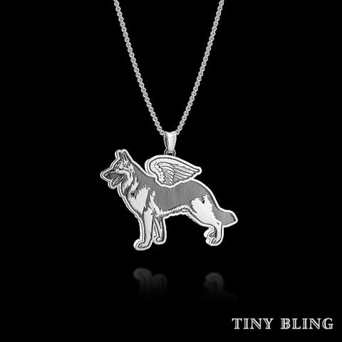 German Shepherd Breed Jewelry Angel Wings Pendant - TINY BLING