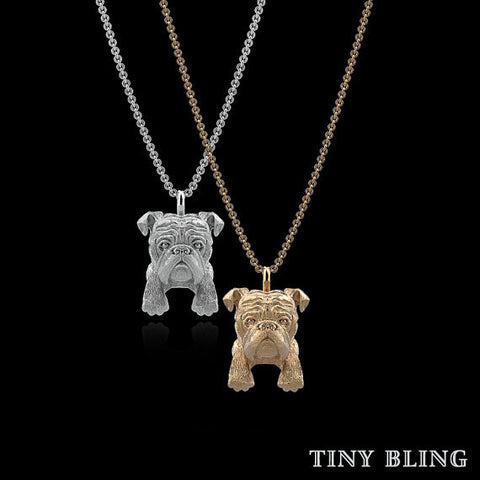 English Bulldog Breed Jewelry Puppy Face Charm - TINY BLING