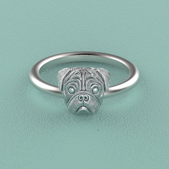 PUG Breed Jewelry Puppy Face Ring - TINY BLING