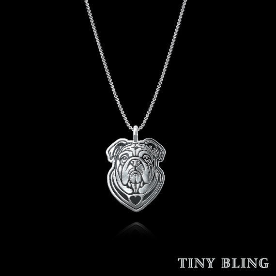 English Bulldog Breed Jewelry Necklace - TINY BLING