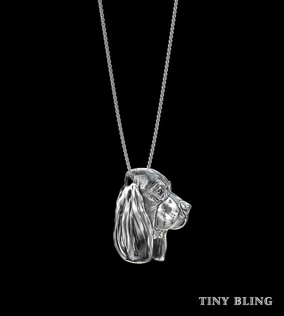 Basset Hound Breed Jewelry Face Pendant - TINY BLING