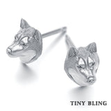 Siberian Husky Breed Jewelry Puppy Face Earring Studs - TINY BLING