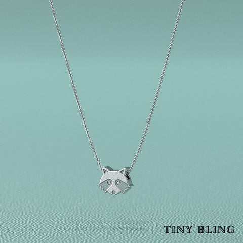 Diamond Raccoon Necklace. - TINY BLING