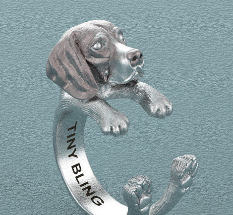 American English Coonhound Breed Jewelry Cuddle Wrap Ring - TINY BLING